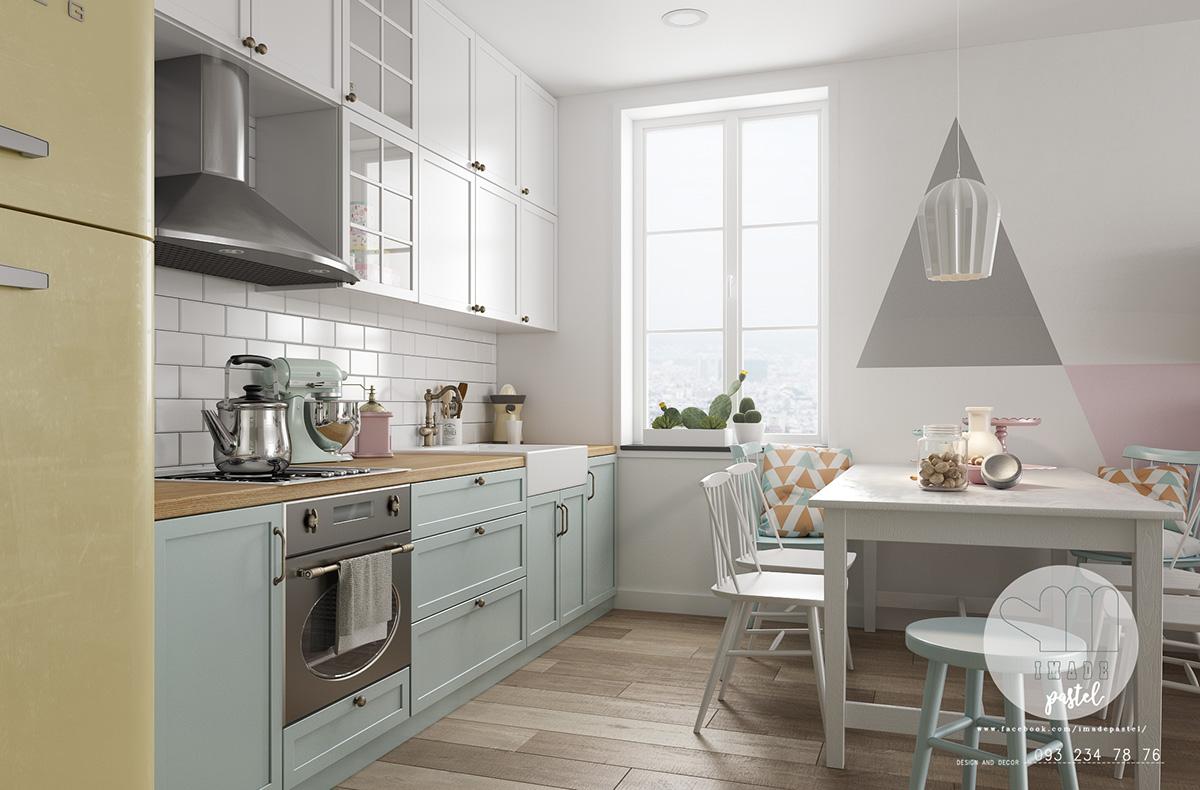 pastel-geometric-wall-decal-Scandinavian-kitchen