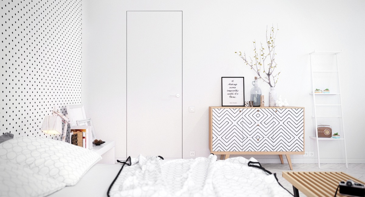 polka-dot-bedroom-matching-monochrome-and-wood-cabinet